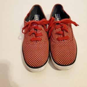Keds red and white polka dots tennis shoes